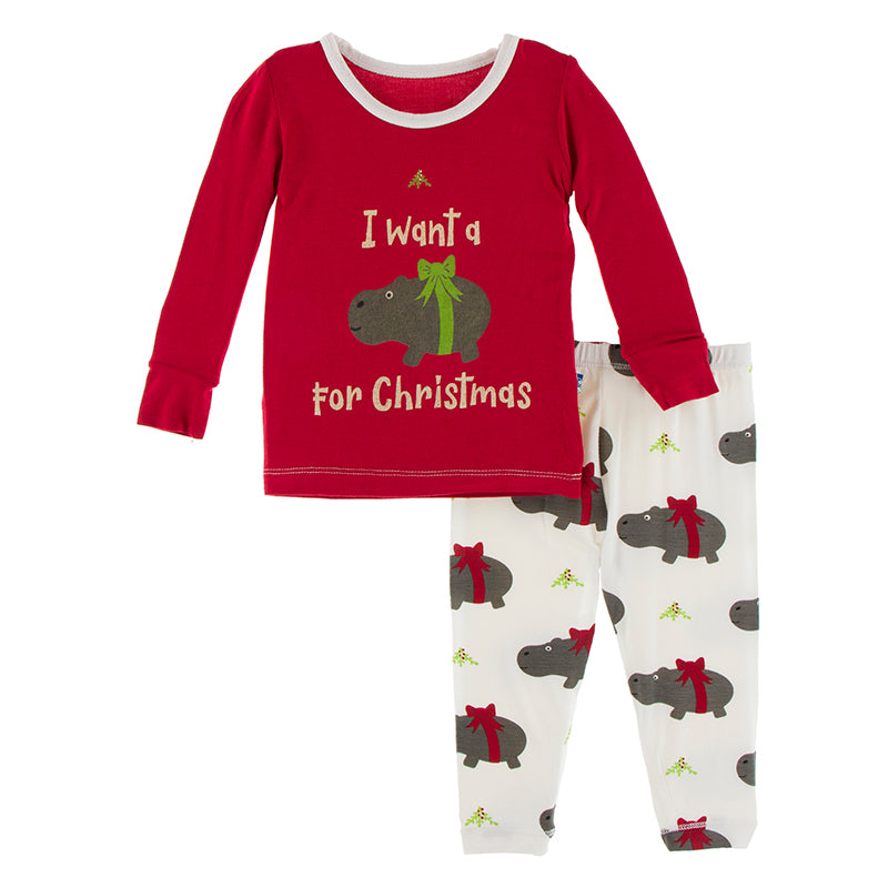 KICKEE PANTS LONG SLEEVE GRAPHIC TEE PAJAMA SET NATURAL CHRISTMAS HIPPO
