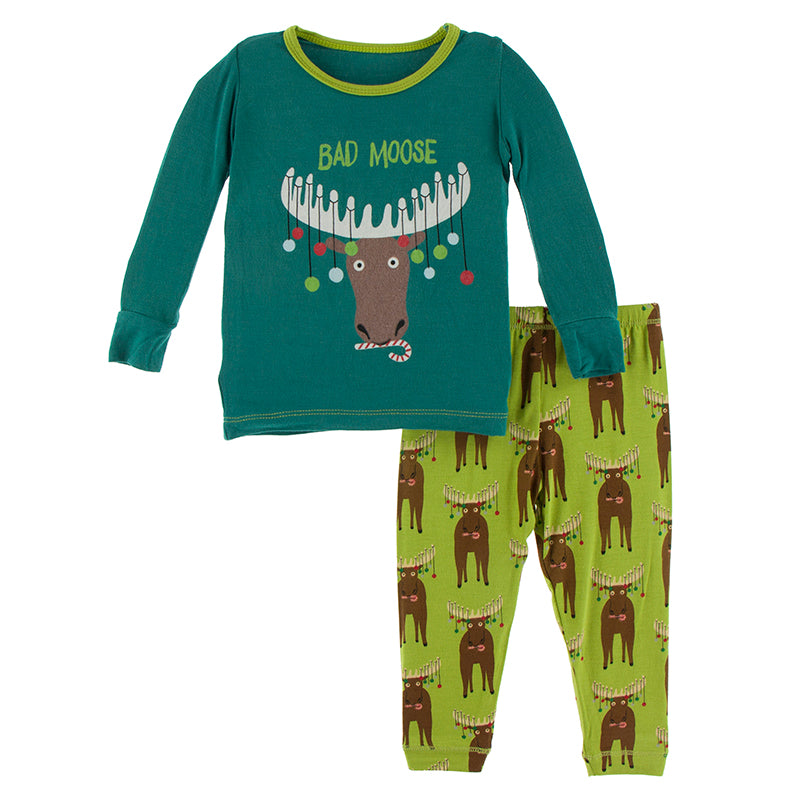 KICKEE PANTS LONG SLEEVE GRAPHIC TEE PAJAMA SET MEADOW BAD MOOSE