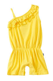 KicKee Pants Solid Diagonal Ruffle Romper - Lemon