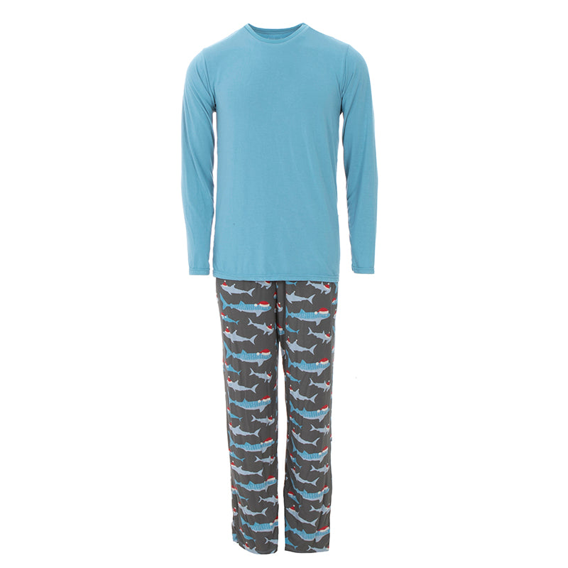 KICKEE PANTS MENS PRINT LONG SLEEVE PAJAMA SET PEWTER SANTA SHARKS