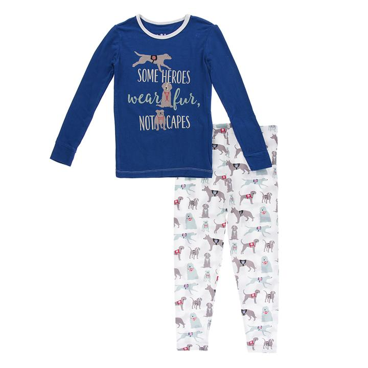 KICKEE PANTS LONG SLEEVE PIECE PRINT PAJAMA SET NATURAL CANINE FIRST RESPONDERS