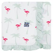 KicKee Pants Ruffle Stroller Blanket - Natural Flamingo