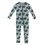 KICKEE PANTS PRINT COVERALL WITH ZIPPER JADE FOREST RABBIT