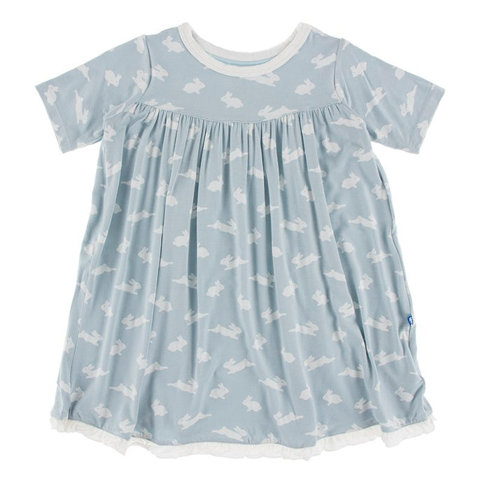 KicKee Pants Celebrations Print Classic Short Sleeve Swing Dress Pearl Blue Bunny