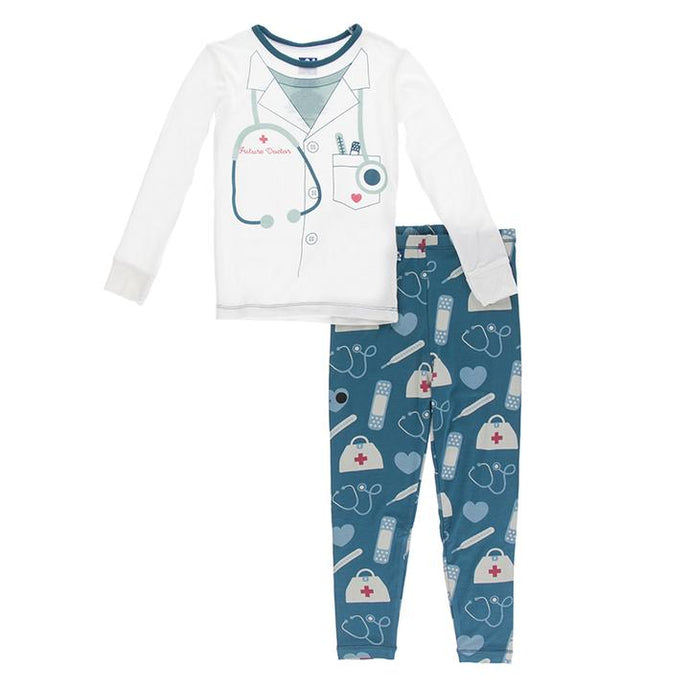 KICKEE PANTS LONG SLEEVE PIECE PRINT PAJAMA SET OASIS MEDICINE