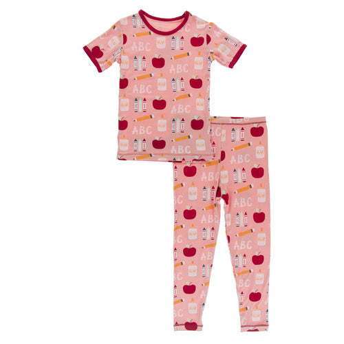 KICKEE PANTS PRINT SHORT SLEEVE PAJAMA SET BLUSH FIRST DAY OF SCHOOL 6YEARS