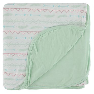 KICKEE PATNS DOUBLE LAYER THROW BLANKET IN PISTACHIO SOUTHWEST