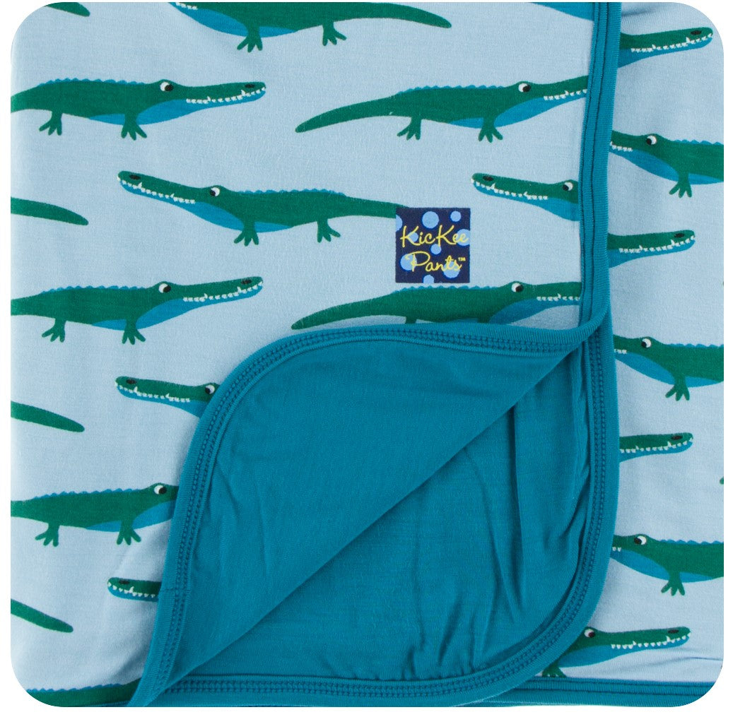 KicKee Pants Stroller Blanket - Pond Crocodile