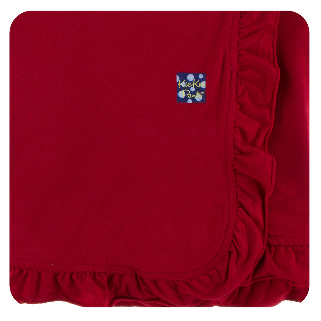 KicKee Solid Ruffle Stroller Blanket - Candy Apple
