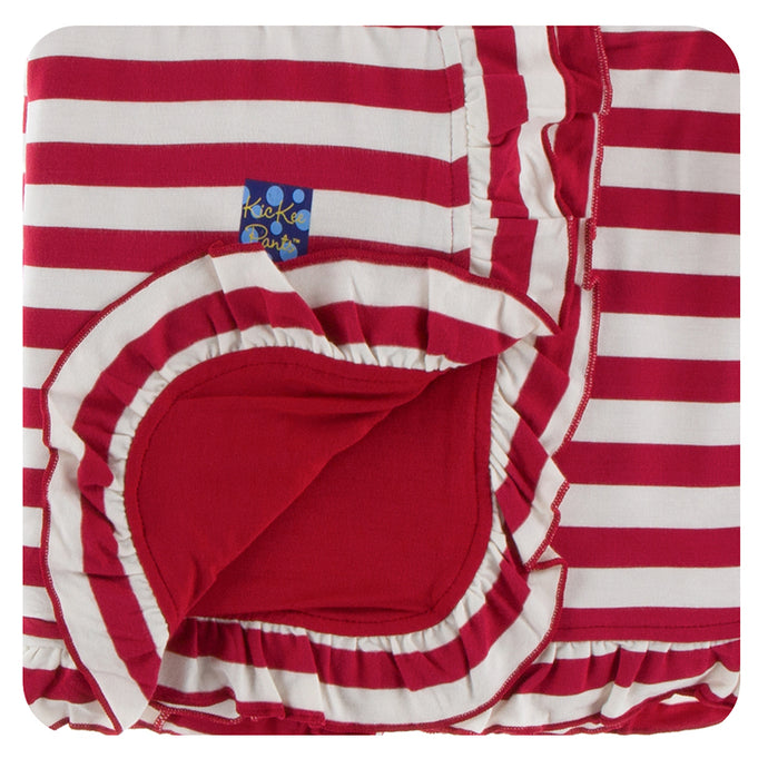 KicKee Pants Print Ruffle Stroller Blanket - Candy Cane Stripe 2019