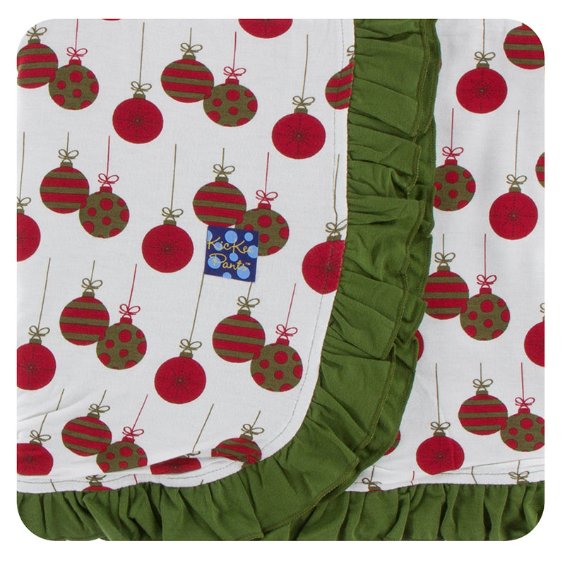 KicKee Pants Print Ruffle Stroller Blanket - Natural Ornaments