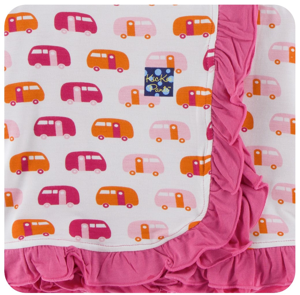 Kickee Pants Print Ruffle Toddler Blanket in Natural Camper