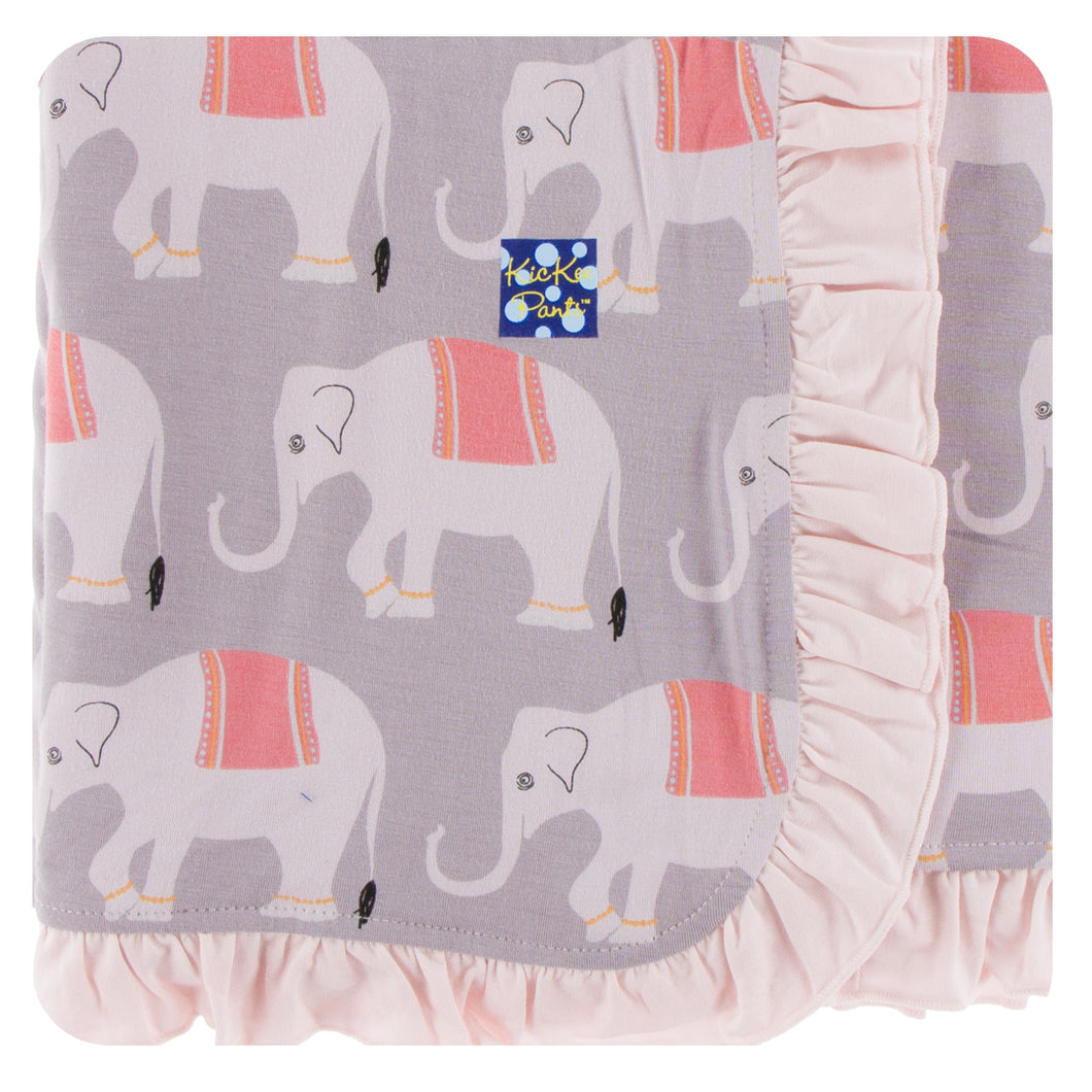 KicKee Pants Print Ruffle Stroller Blanket - Feather Indian Elephant