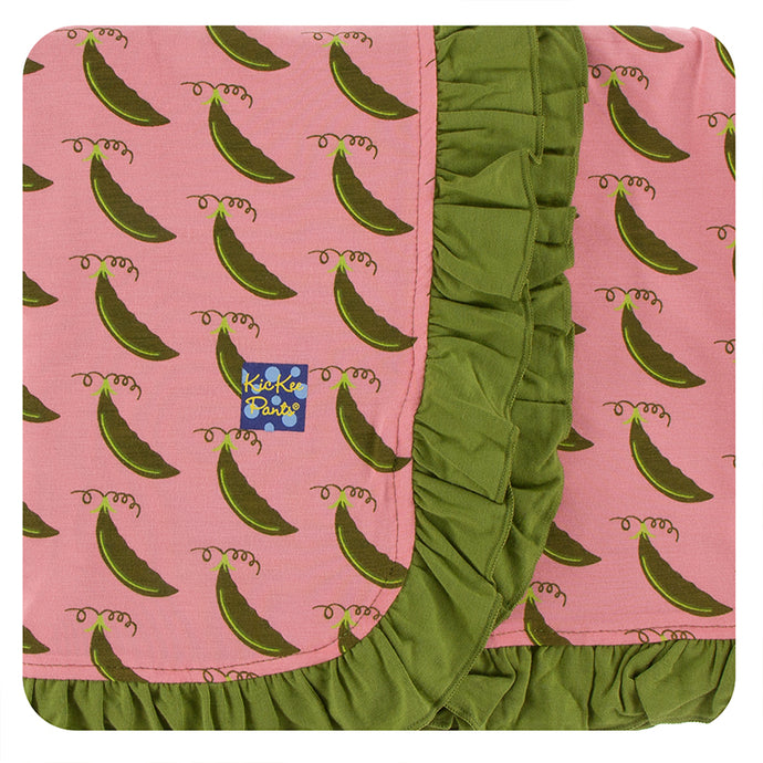 KicKee Pants Print Ruffle Stroller Blanket - Strawberry Sweet Peas (PRESALE)