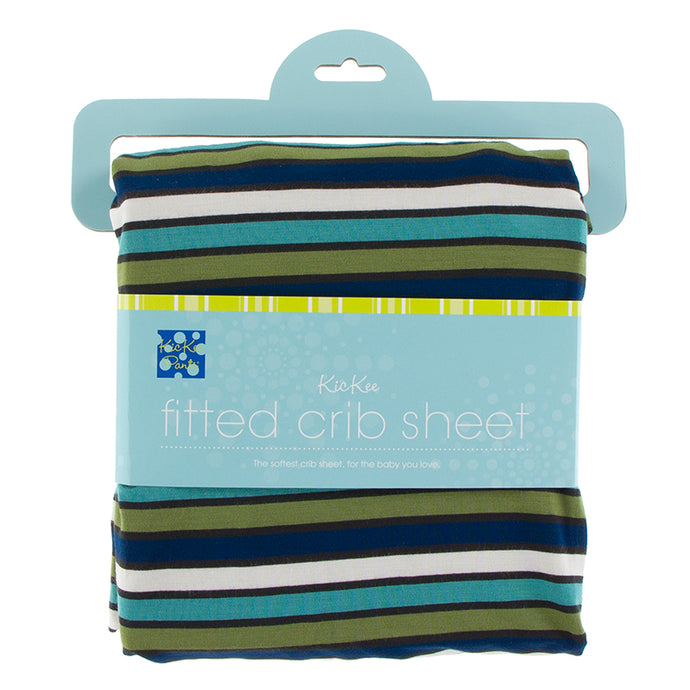KicKee Pants Print Fitted Crib Sheet - Botany Grasshopper Stripe