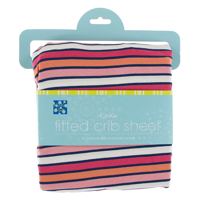 KicKee Pants Print Fitted Crib Sheet - Botany Red Ginger Stripe