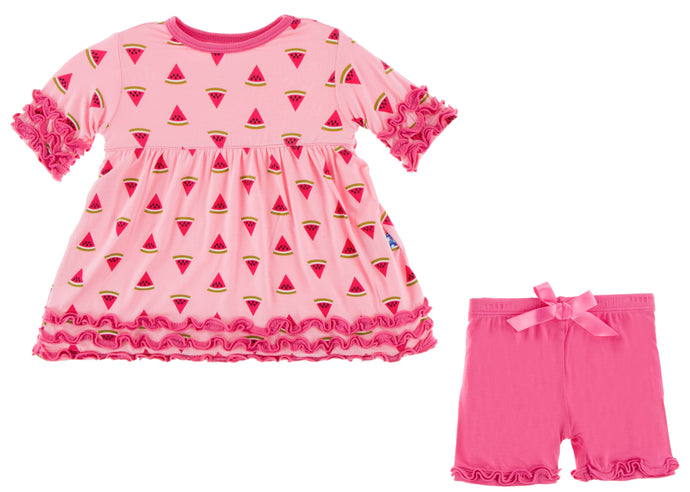 KicKee Pants Print Short Sleeve Babydoll Outfit Set - Lotus Watermelon