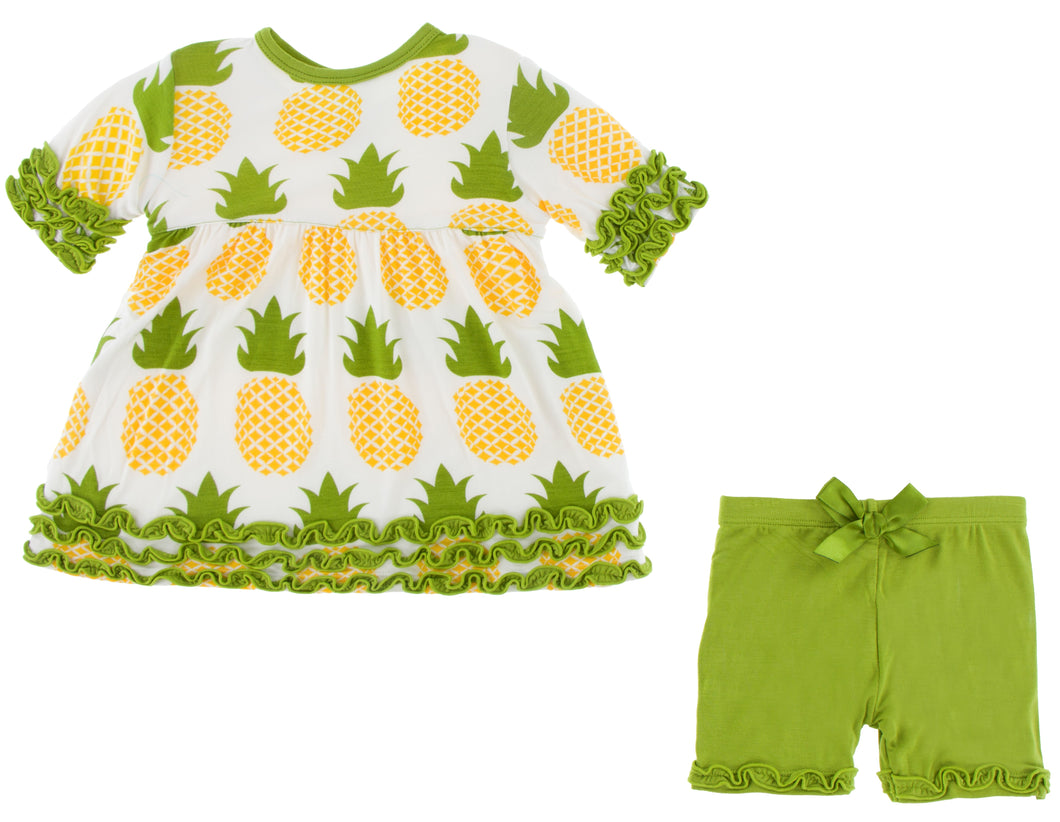 KicKee Pants Print Short Sleeve Babydoll Outfit Set - Natural Pineapple
