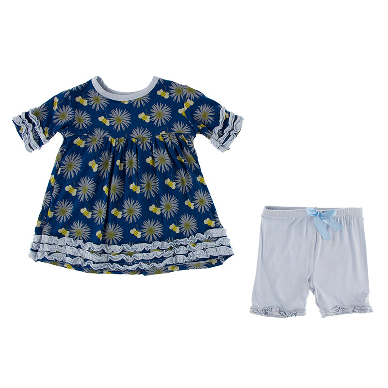 KicKee Pants Print Short Sleeve Babydoll Outfit Set - Navy Cornflower and Bee