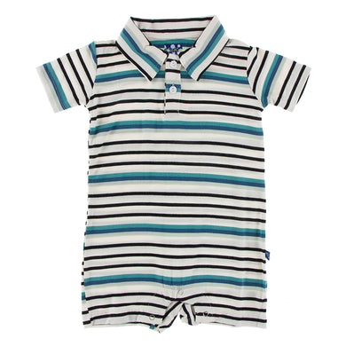 KicKee Pants Print Short Sleeve Polo Romper - Neptune Stripe (PRESALE)