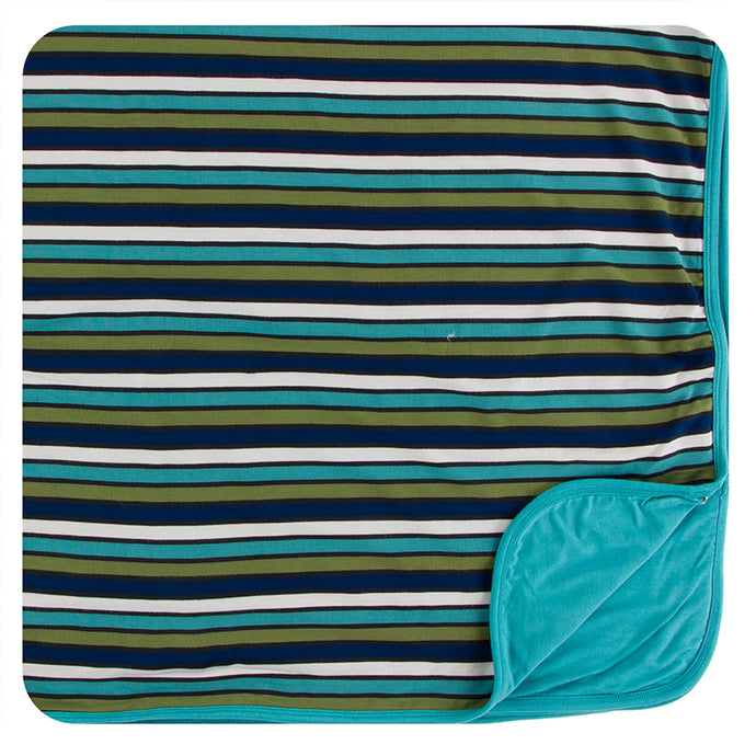 KicKee Pants Print Toddler Blanket - Botany Grasshopper Stripe