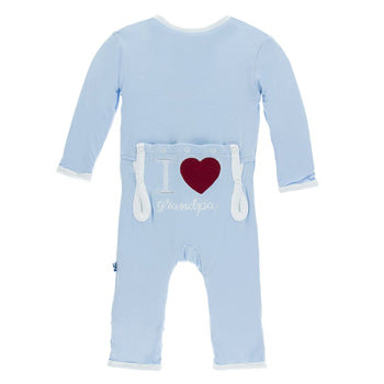 KICKEE PANTS HOLIDAY APPLIQUE COVERALL IN POND I LOVE GRANDPA