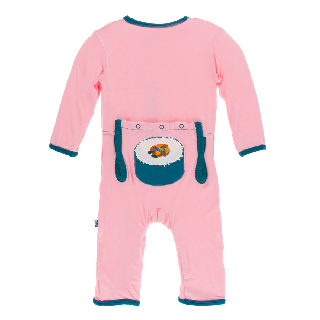 KicKee Pants Applique Coverall W/Zipper - Lotus Sushi