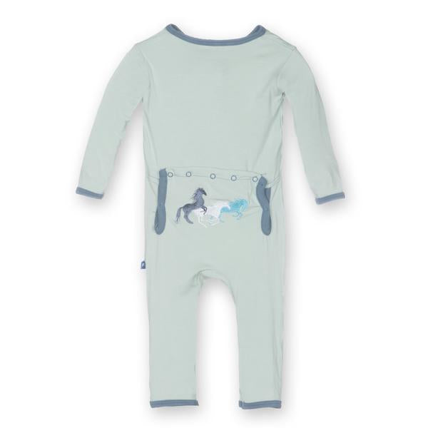 KicKee Pants Fitted Applique Coverall - Aloe Wild Horses