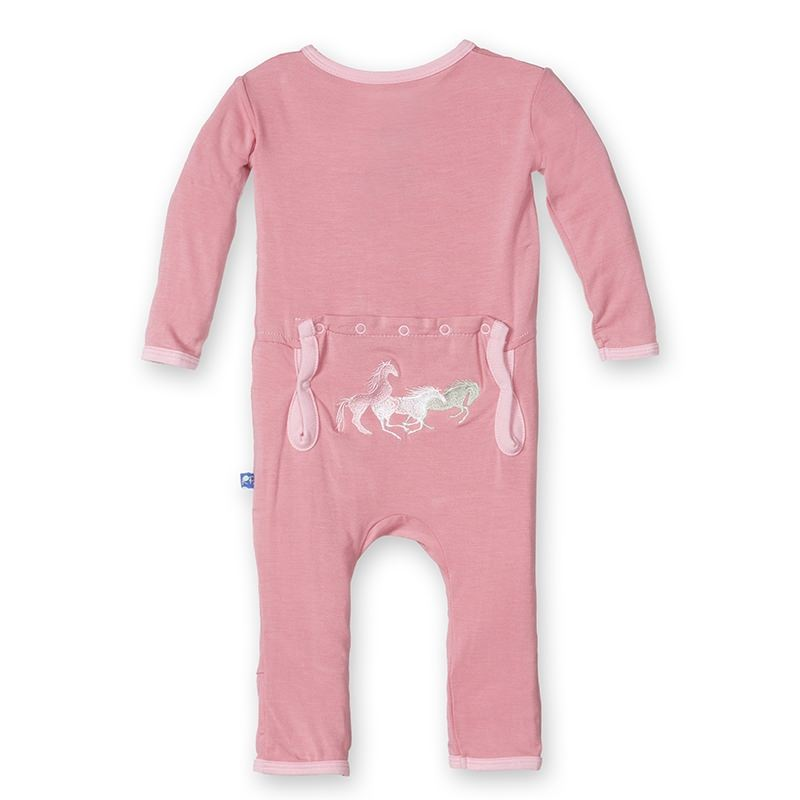 KicKee Pants Fitted Applique Coverall - Desert Rose Wild Horses