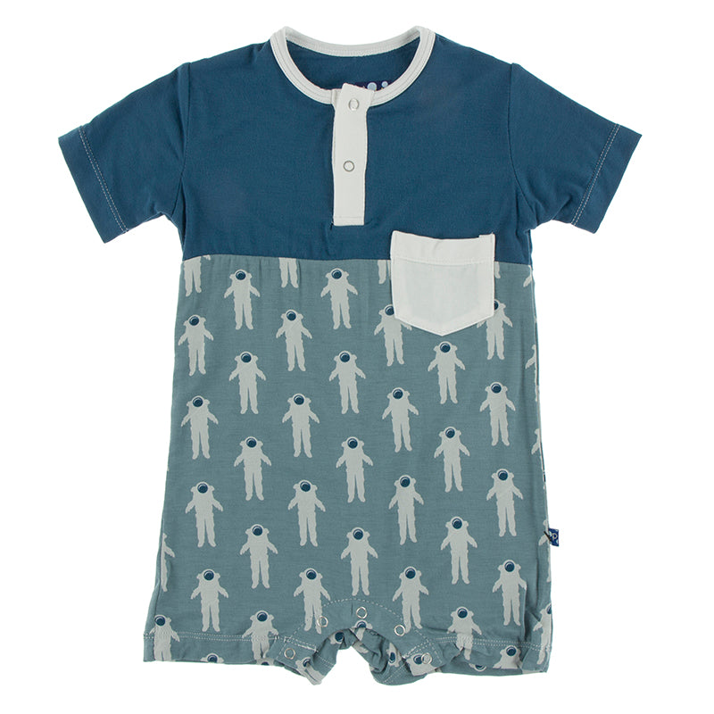 KicKee Pants Print Short Sleeve Color Block Henley Romper W/Pocket - Dusty Sky Astronaut