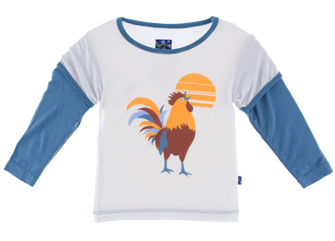 KicKee Pants Long Sleeve Print Double Layer Tee - Parisian Rooster