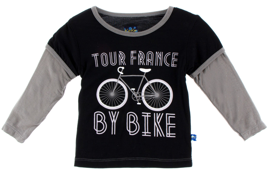 KicKee Pants Long Sleeve Print Double Layer Tee - Tour France By Bike
