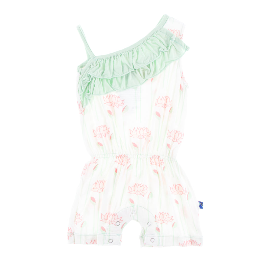 KicKee Pants Print Diagonal Ruffle Romper - Natural Lotus Flower
