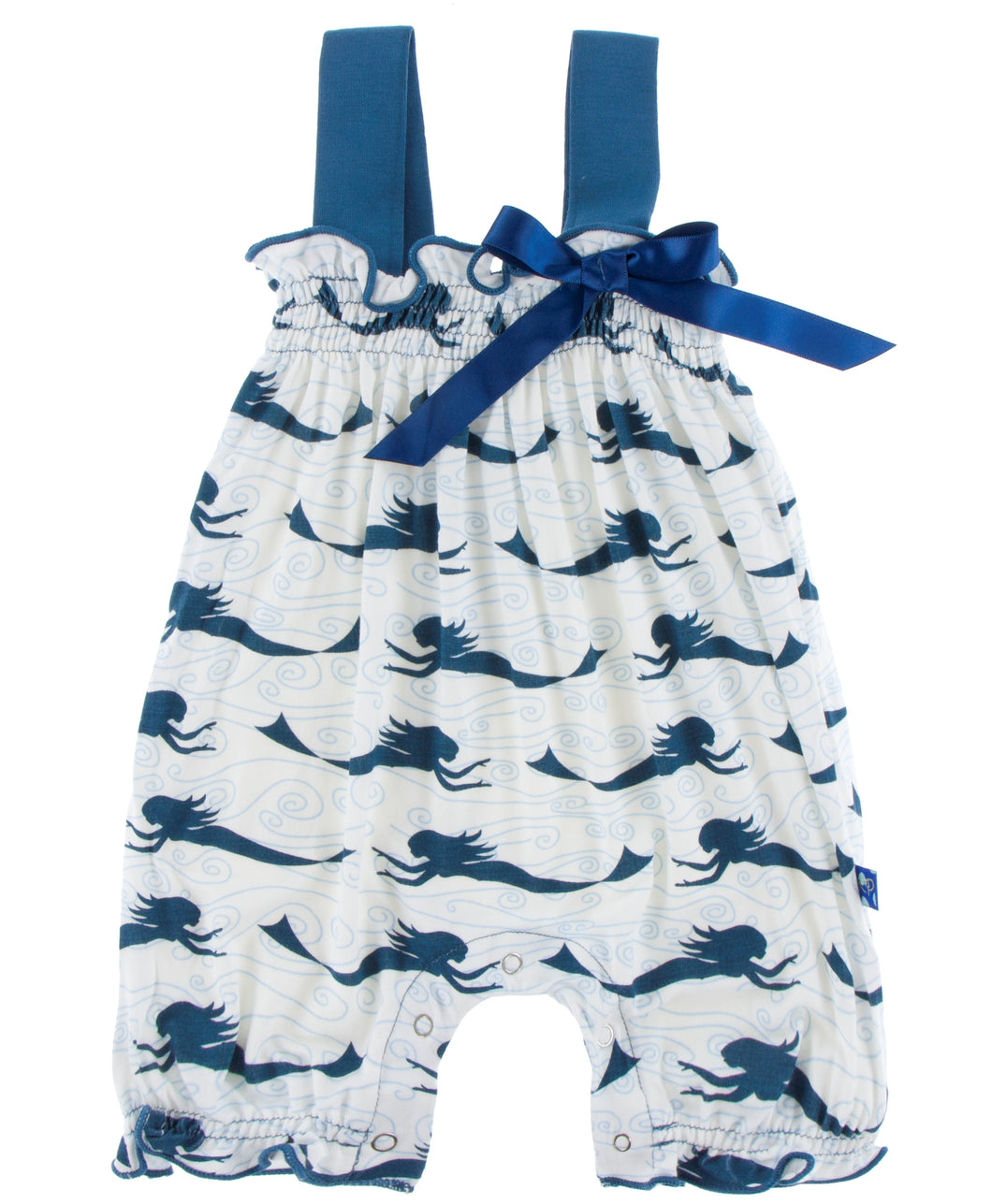 KicKee Pants Gathered Romper with Bow - Natural Mermaid