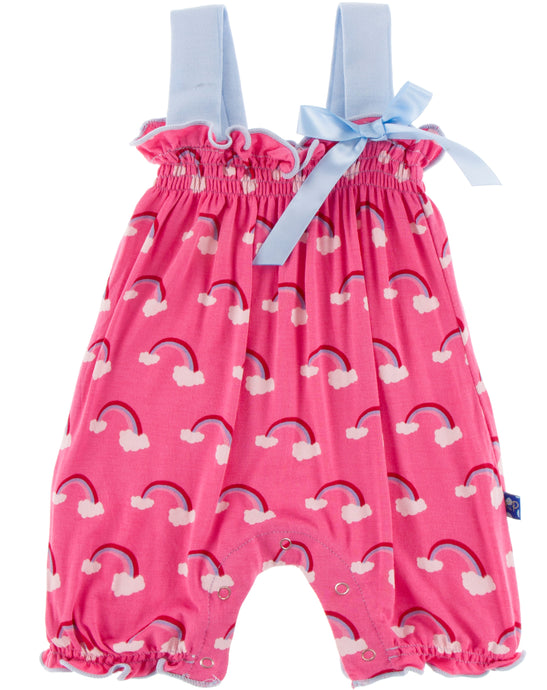 KicKee Pants Gathered Romper with Bow - Flamingo Rainbow