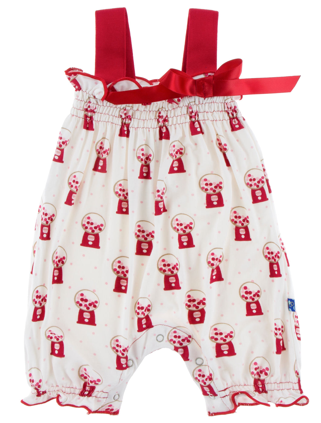 KicKee Pants Gathered Romper with Bow - Natural Gumball