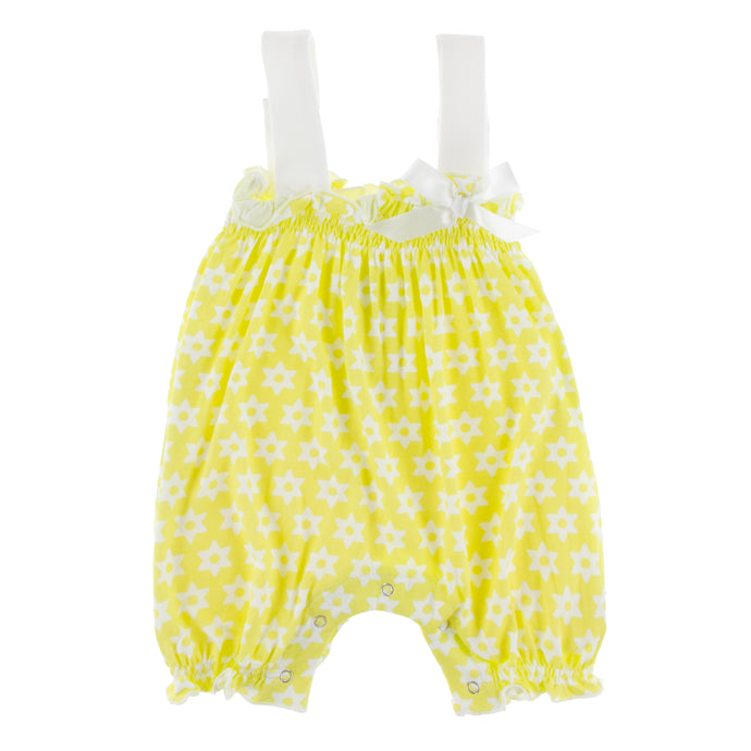 KicKee Pants Print Gathered Romper W Bow - Lime Blossom Stellini