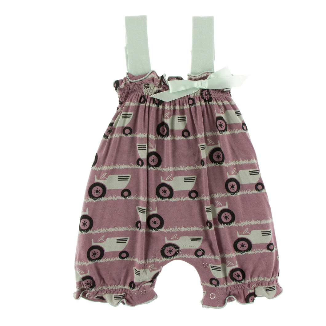 KicKee Pants Print Gathered Romper W Bow - Raisin Tractor & Grass