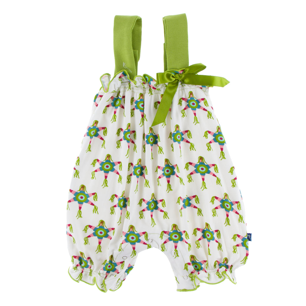 KicKee Pants Print Gathered Romper W/Bow - Natural Pinata