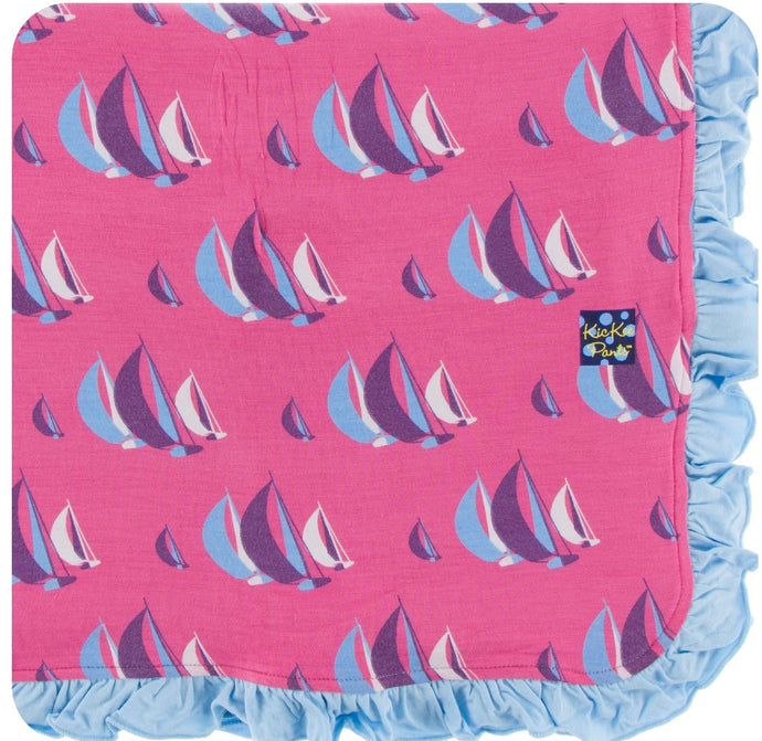 KicKee Pants Ruffle Flamingo Sailing Race Toddler Blanket