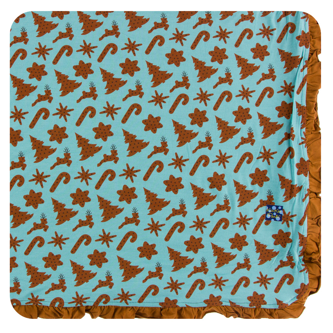 KicKee Pants Holiday Ruffle Toddler Blanket - Christmas Cookies