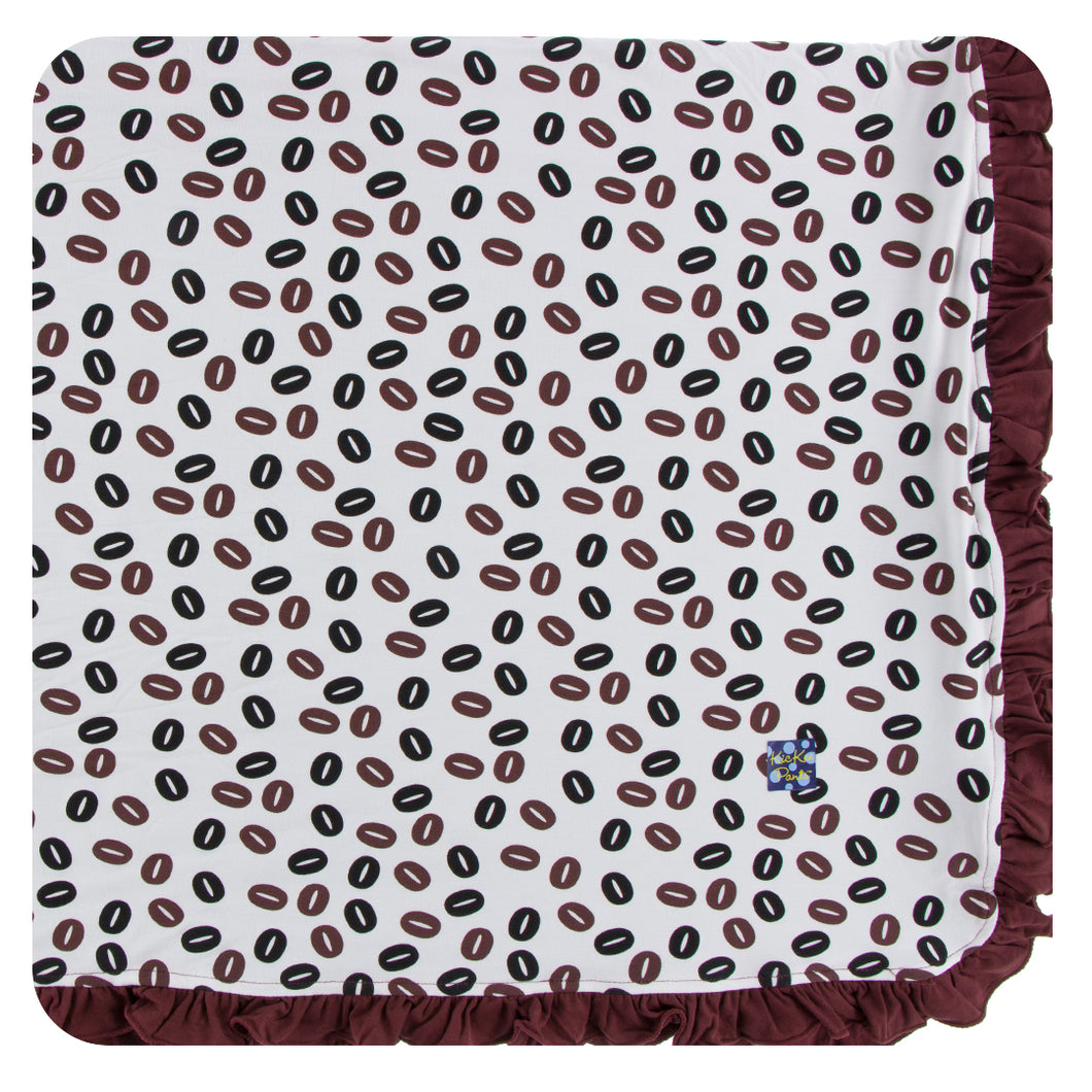 KicKee Pants Print Ruffle Toddler Blanket - Coffee Beans