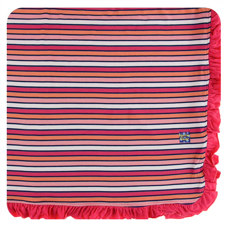 KicKee Pants Print Ruffle Toddler Blanket - Botany Red Ginger Stripe