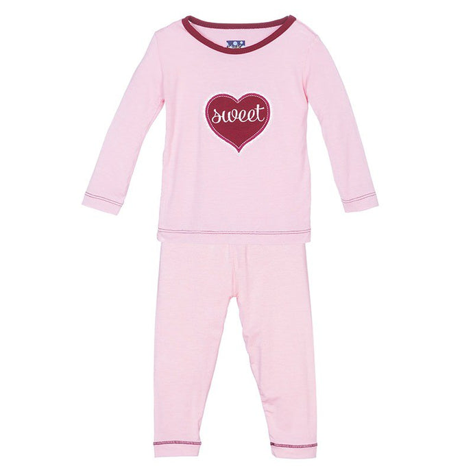 KicKee Pants Holiday Long Sleeve Applique Pajama Set - Lotus Sweetheart