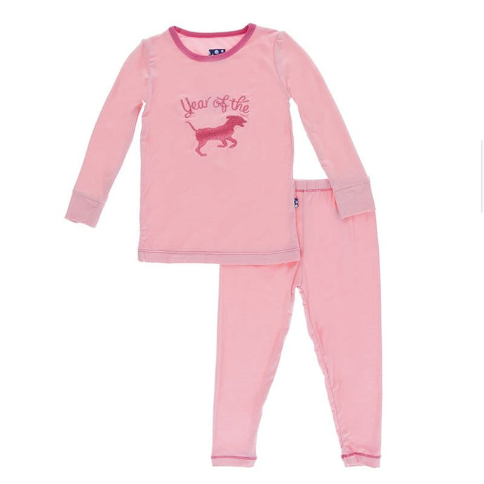 KicKee Pants Holiday Long Sleeve Applique Pajama Set - Lotus Year Of The Dog