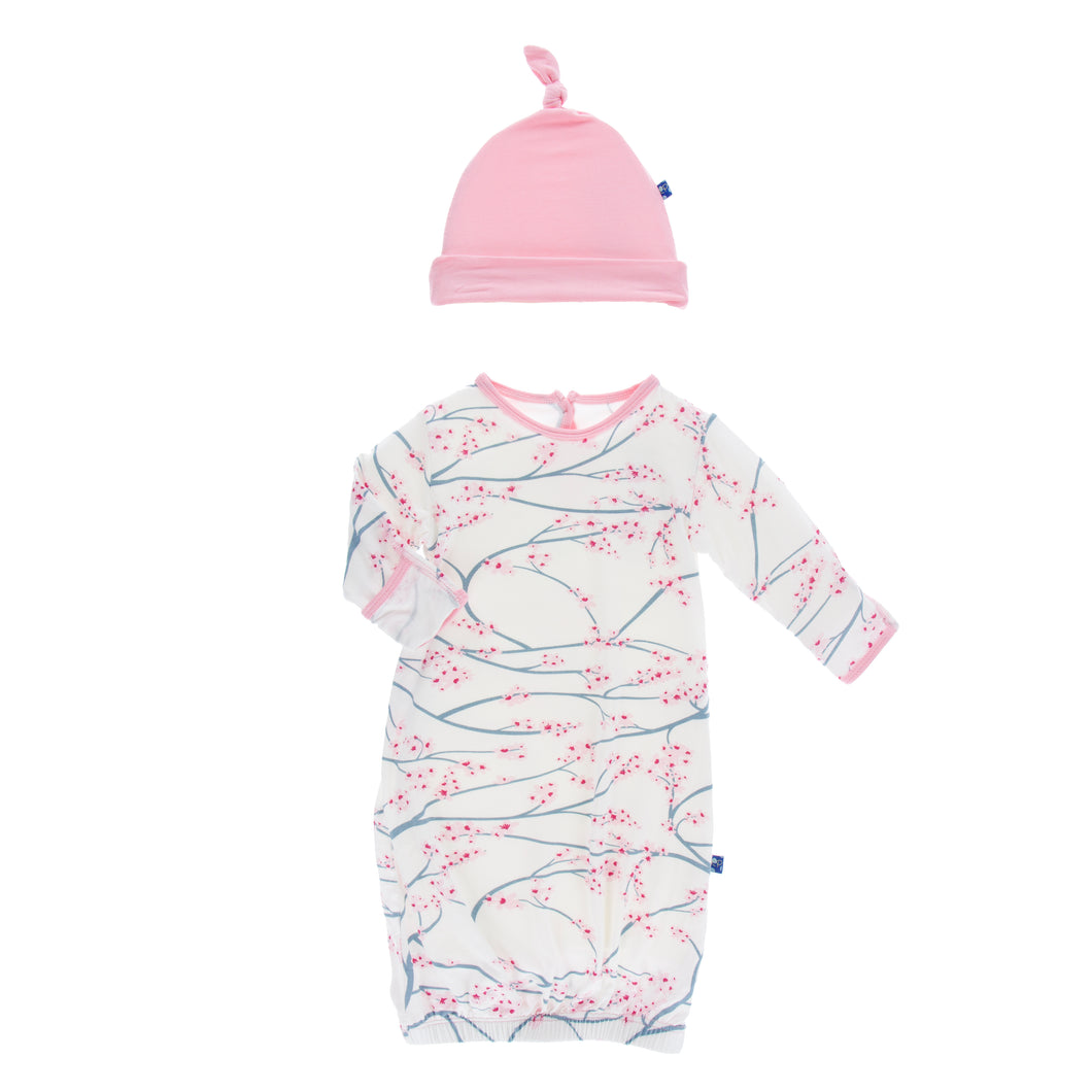KicKee Pants Print Layette Gown & Single Know Hat Set - Natural Japanese Cherry Tree