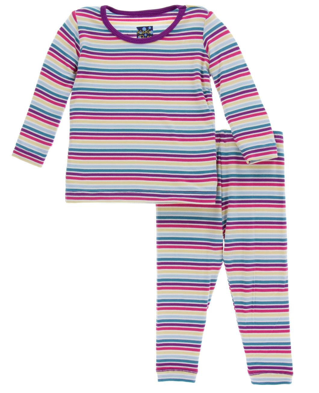 KicKee Pants Print Long Sleeve Pajama Set - Girl Perth Stripe