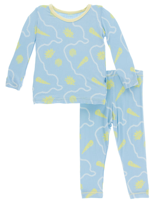 KicKee Pants Print Long Sleeve Pajama Set - Pond Shells