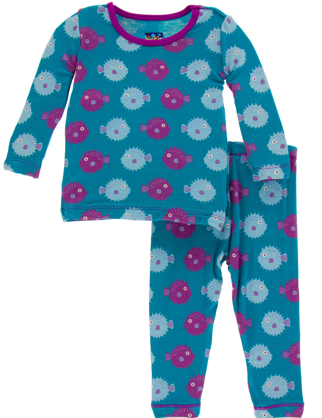 KicKee Pants Print Long Sleeve Pajama Set - Seagrass Puffer