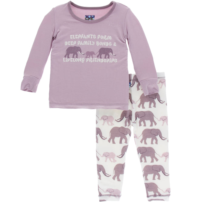 KicKee Pants Print Long Sleeve Pajama Set - Natural Elephants